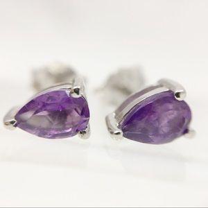 Pear ametheyst sterling silver stud earrings